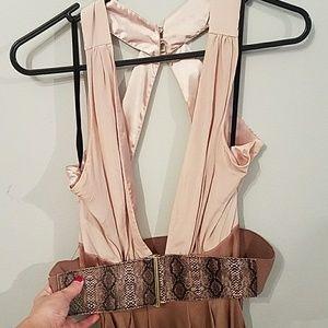 Open back bebe dress with belt